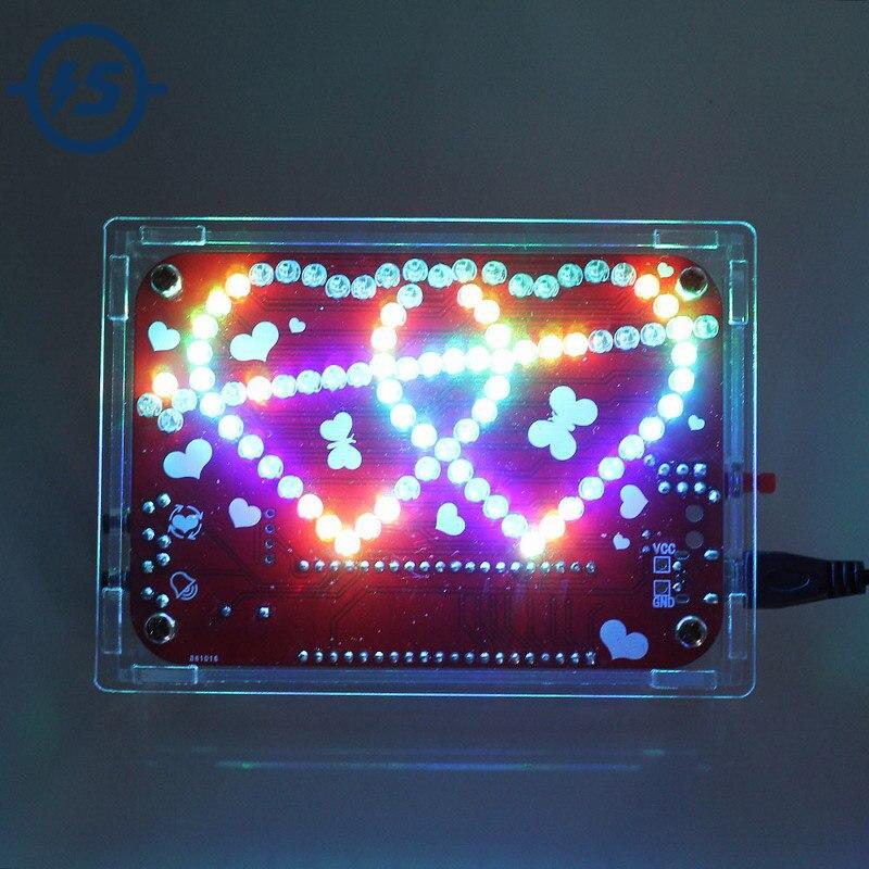 Электронный набор для самостоятельной сборки, RGB LED, двойной в форме сердца свет, музыка с корпусом, набор для самостоятельной сборки