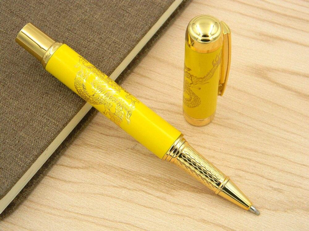 Китайский фарфоровый с металлическим желтым золотым Драконом Mediun шариковая ручка