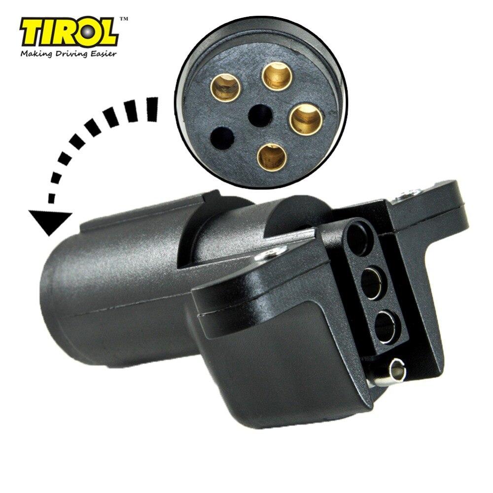 TIROL T24508a 6 vías Pin redondo a 4 vías remolque plano cableado adaptador de luz del remolque enchufe para nosotros conector RV barco envío gratis