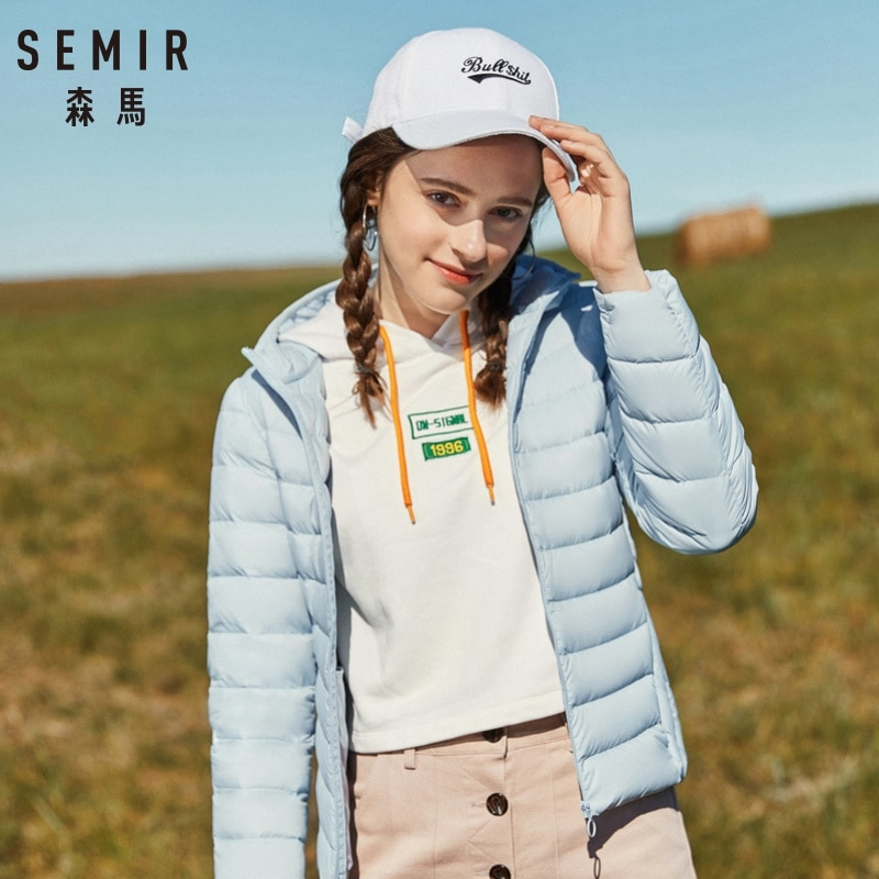 ¡Nuevo básico de 2019! Chaqueta de invierno para mujer de SEMIR, abrigos con capucha de terciopelo para invierno, chaqueta de invierno para mujer, prendas de vestir, portátil y cálido