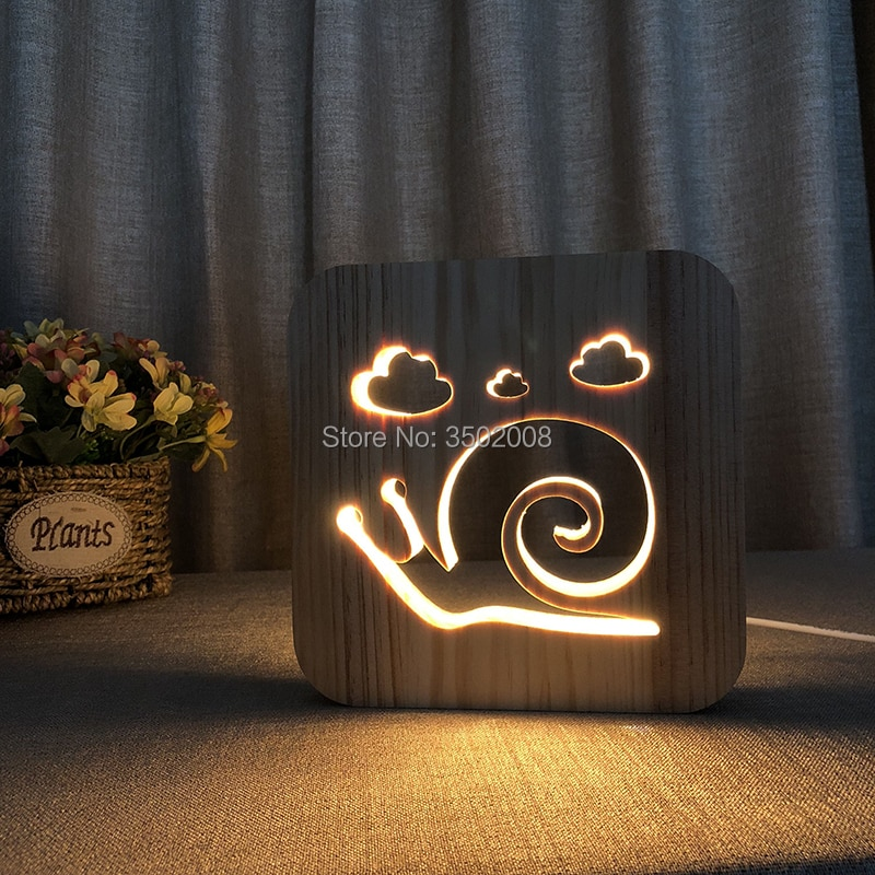 Luz LED de noche ahuecada en forma de Caracol de madera lámpara blanca cálida alimentación USB como iluminación nocturna o decoración de regalo