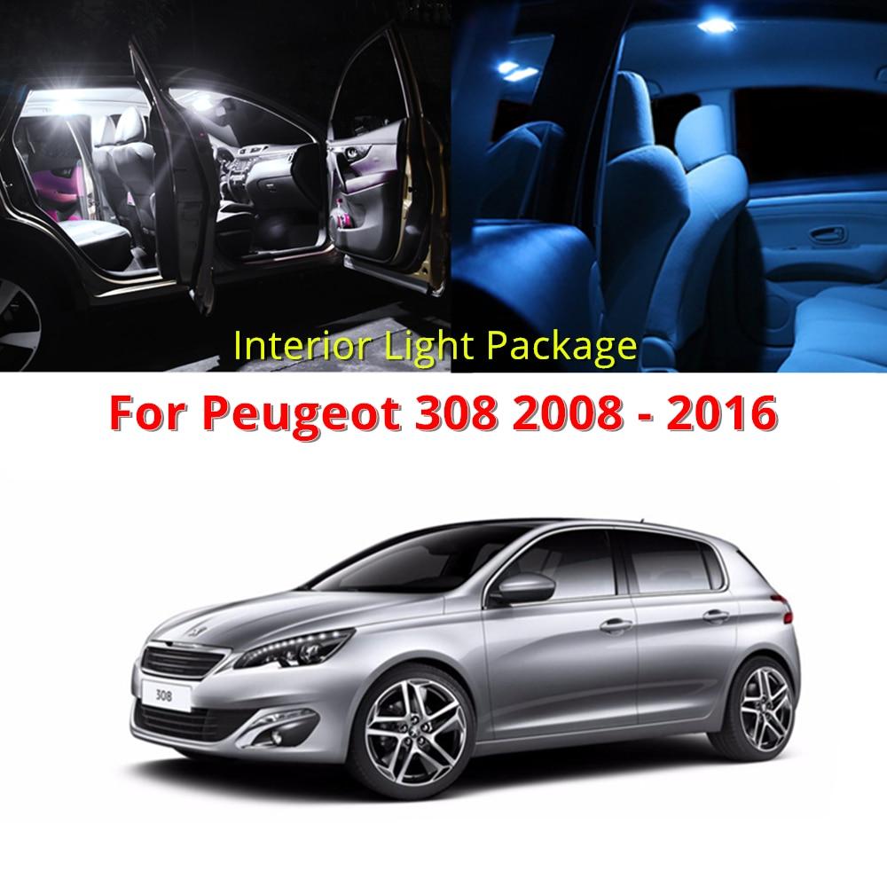 WLJH 7x Canbus LED delantero trasero cúpula Luz de mapa maletero bombilla LED interior lámpara Kit para Peugeot 308, 2008-2016
