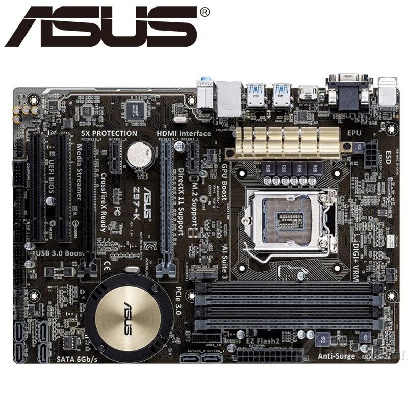 Asus-placa base de escritorio Z97-K LGA 1150 DDR3 USB2.0, 32GB, para I3...