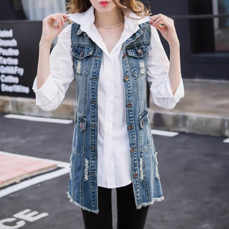 Denim Vest Women 2019 new Spring Casual Sleeveless jacket Coat Vintage slim Medium-long vest women denim vest summer Outerwear