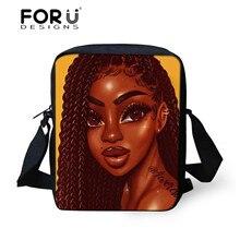 FORUDESIGNS Black Afro Girls Printing Shoulder Bags for Women Handbags Ladies Mini Crossbody Bag Females African Messenger Bags