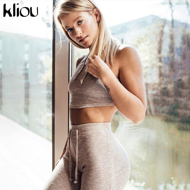 Kliou Women Tracksuit Fitness 2 Piece Set Sexy Drawstring Leggings And Pullover Sweatshirt Sleeveless Tops Women Slim Outfit