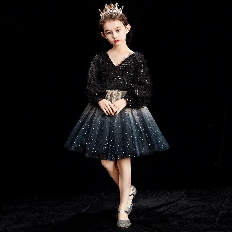 Venta al por menor vestido de fiesta para niñas vestidos de princesa para niñas manga larga lentejuelas negro champán vestido para actuar ropa de niños E92458