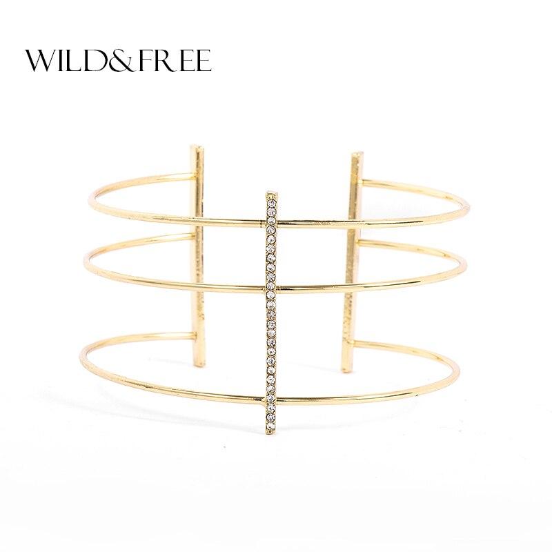 Wild & Free Fashion Gold Wide Open Cuff Bangles Inset Rhinestone Bracelets Bangles Luxury Brand Jewelry For Women Party Gift