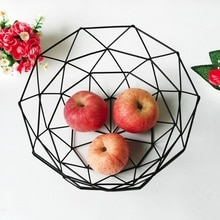 Cesta de dulces para aperitivos de fruta original, cesta de fruta de escritorio para dormitorio, cocina, cesta europea para Almacenamiento negro hueca de hierro