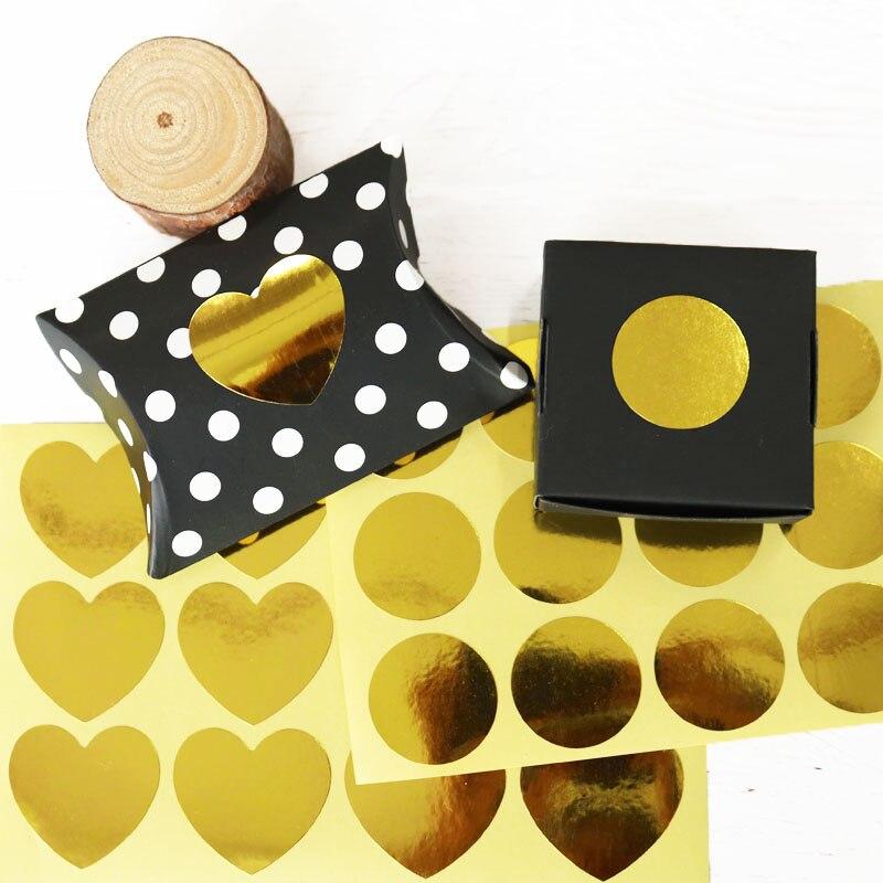 120 Uds. Pegatina de sellado dorado papel grueso papel adhesivo corazón fiesta regalo pegatina de embalaje pastel hornear DIY etiquetas hechas a mano