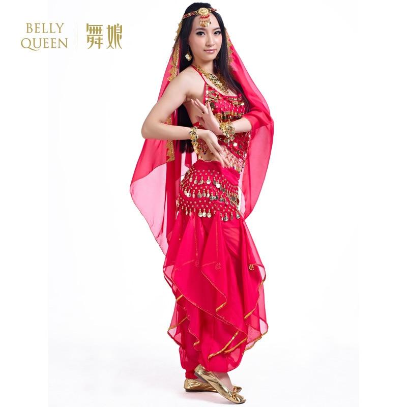 Ropa de danza del vientre Oriental puesta en escena 5 piezas traje sujetador + Pantalones + cinturón + velo + Cadena de mano conjunto de traje de danza del vientre