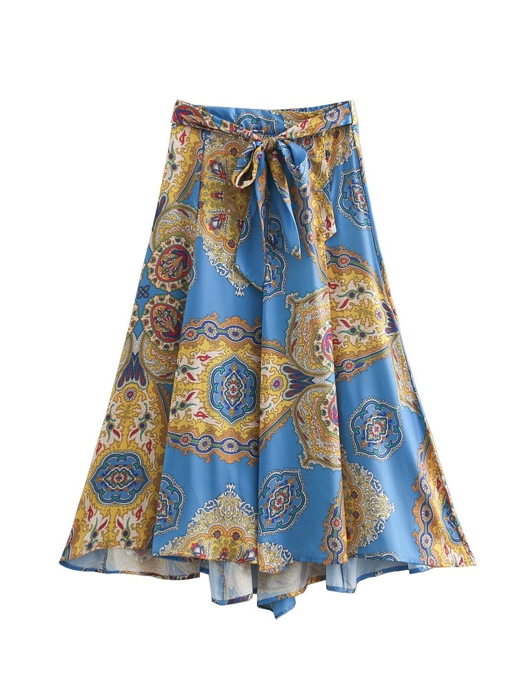 BBWM mujer Za Vintage Chic pintura imprimir faldas largas lazo fajas Retro elegante mujeres plisado una línea falda Casual Jupe Femme