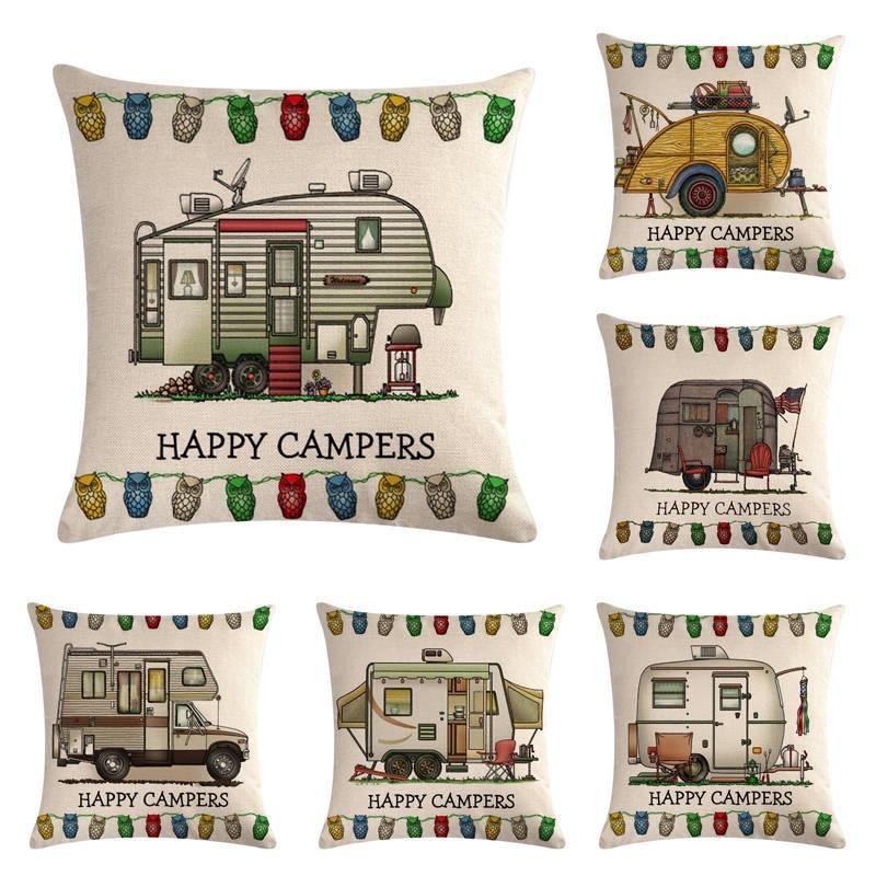 Retro RV Linen Cotton Cushion Cover Waist Pillow Case Happy Campers Pillowcover Home Textile Gift 45x45cm JJJJF75