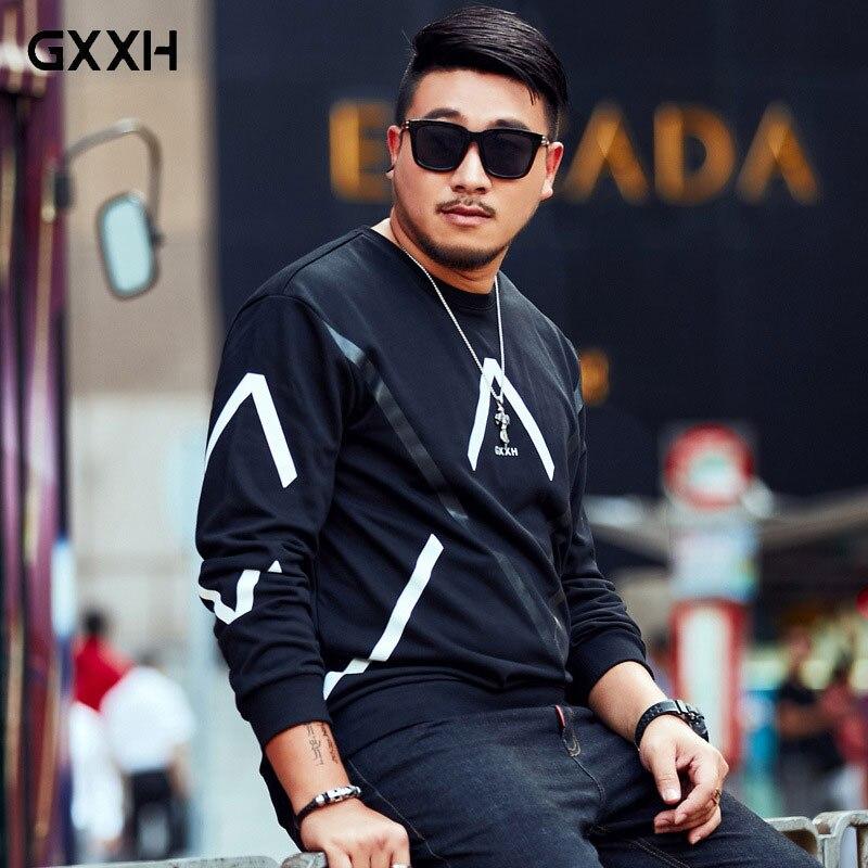 Sudadera XXL-7XL de talla grande para hombre GxxH marca tide, jersey de cuello redondo de otoño negro, camisa informal de manga larga