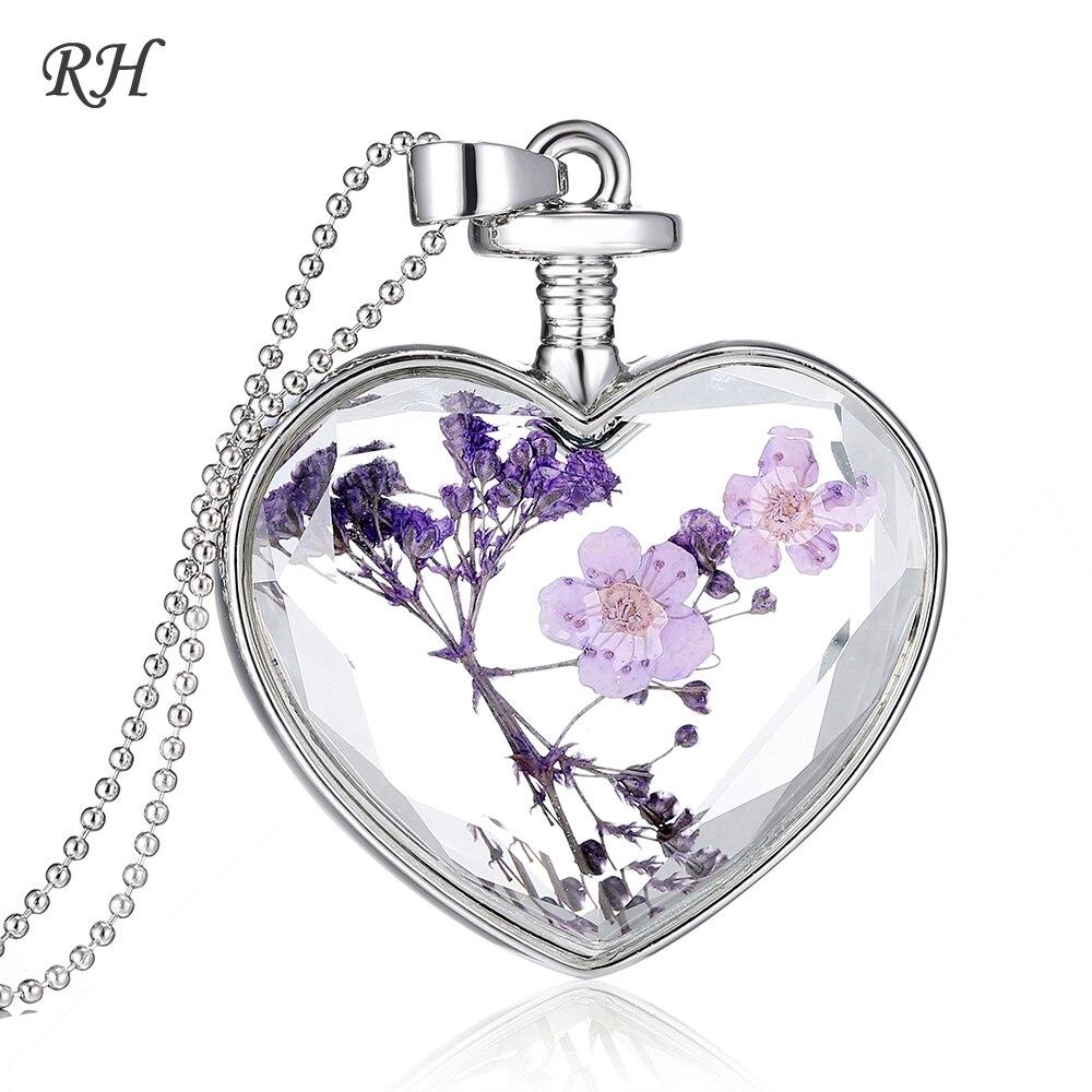 Collar de flores secas decorativas naturales rojo auténtico colgante de flores de cerezo secas joyería de plantas de flores collar de cristal de Metal de corazón