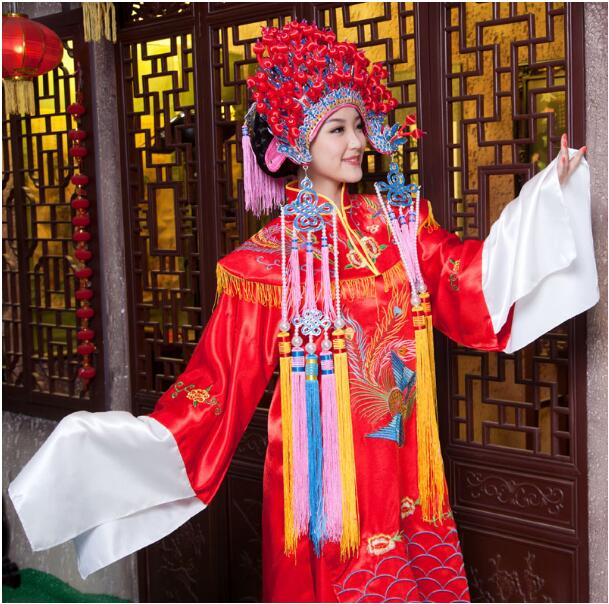 Red Chinese style wedding married dress dragon and phoenix loading men and women Traditional Hanfu Embroidery ancient costume
