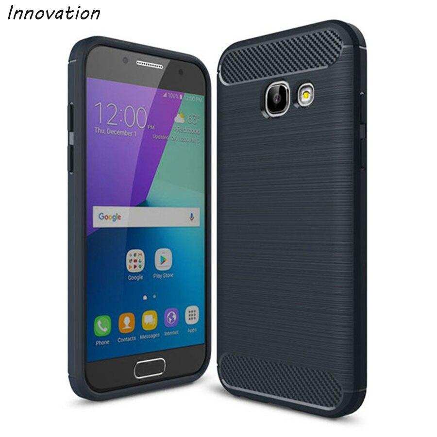 Para Samsung Galaxy A3 2017 Silicone Caso Textura De Fibra De Carbono escovado Para Samsung Galaxy A3 2017 A320 A320F SM-A320F Telefone casos