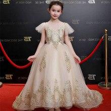 Vestido largo dorado para niñas, vestido de boda, desfile de Piano, disfraces de actuación para niños, vestido sin espalda D28