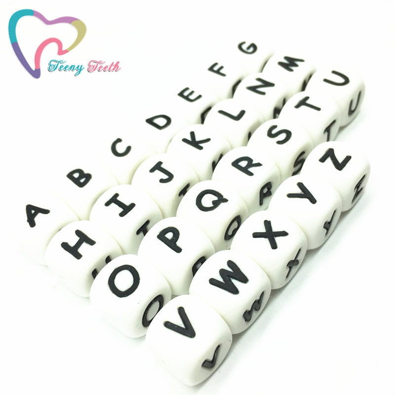 Teeny Teeth 1500 PCS Wholesale BPA Free Silicone Beads English Alphabet Food Grade Silicone Letter Cube DIY Jewelry Loose Beads