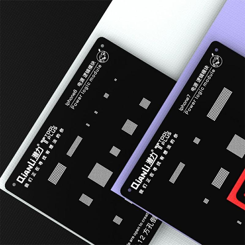 Qianli 3D de lógica reboleo de plantilla para iPhone 8 P 8 7 7 P 6 S 6 5S 5 0,12mm Plantilla de soldadura conjunto de red de acero de estaño de potencia IC
