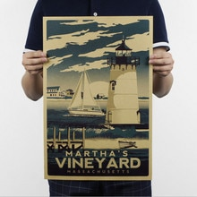 Autocollants muraux rétro en papier Kraft   Autocollants vintage, affiches vignoble phare mer salon, graphique Art déotatif, 51x35cm