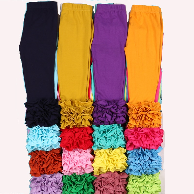 MUDBALA Boutique niñas pequeñas Triple volante glaseado polainas bebé niña ropa inferior sólido algodón Ruffled Pants