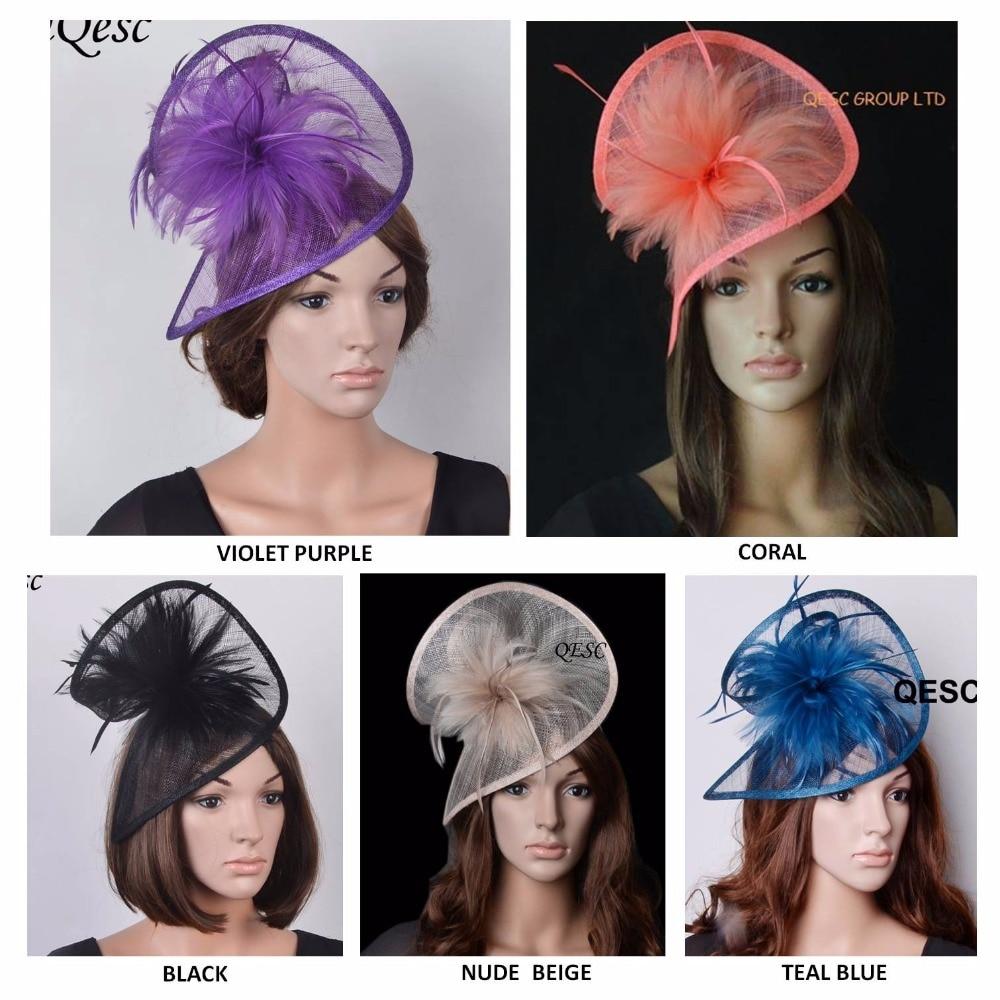 Nuevo sombrero tocado sinamay en forma especial con plumas para accesorios de pelo/carreras/Iglesia/boda/fiesta/Kentucky derby