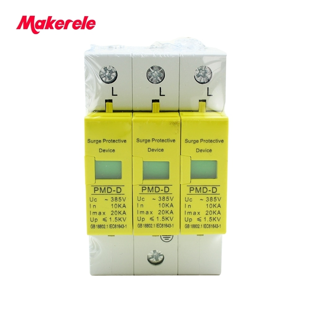 House Surge Protector Protective Low-voltage Arrester Device SPD 3P 10KA~20KA ~385VAC Makerele Brand