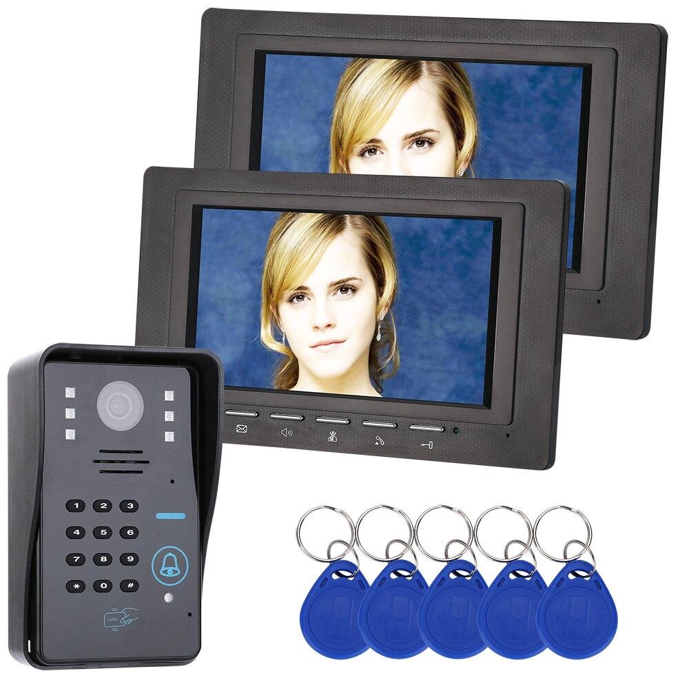 "7 ""Lcd 2 monitores RFID contraseña Video portero Sistema de timbre de portero automático con cámara de IR-CUT 1000 Sistema de Control de Acceso de línea de TV"