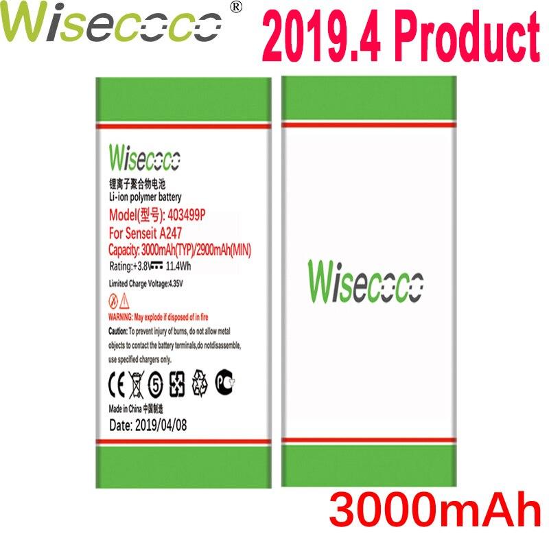 Batterie WISECOCO 3000 mAh 403499 P pour téléphone Mobile Senseit A247 en Stock dernière Production batterie de haute qualité + numéro de suivi