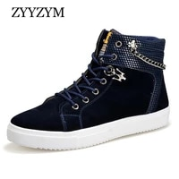 zyyzym shoes men spring autumn lace up help style man casual shoes fashion men shoes trend top keep warm cotton shoes