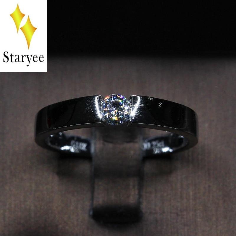 Prueba positiva VVS H 0,3 quilates brillante redondo Moissanite Lab diamante anillo de compromiso de boda de los hombres anillo de oro 18K Blanco sólido