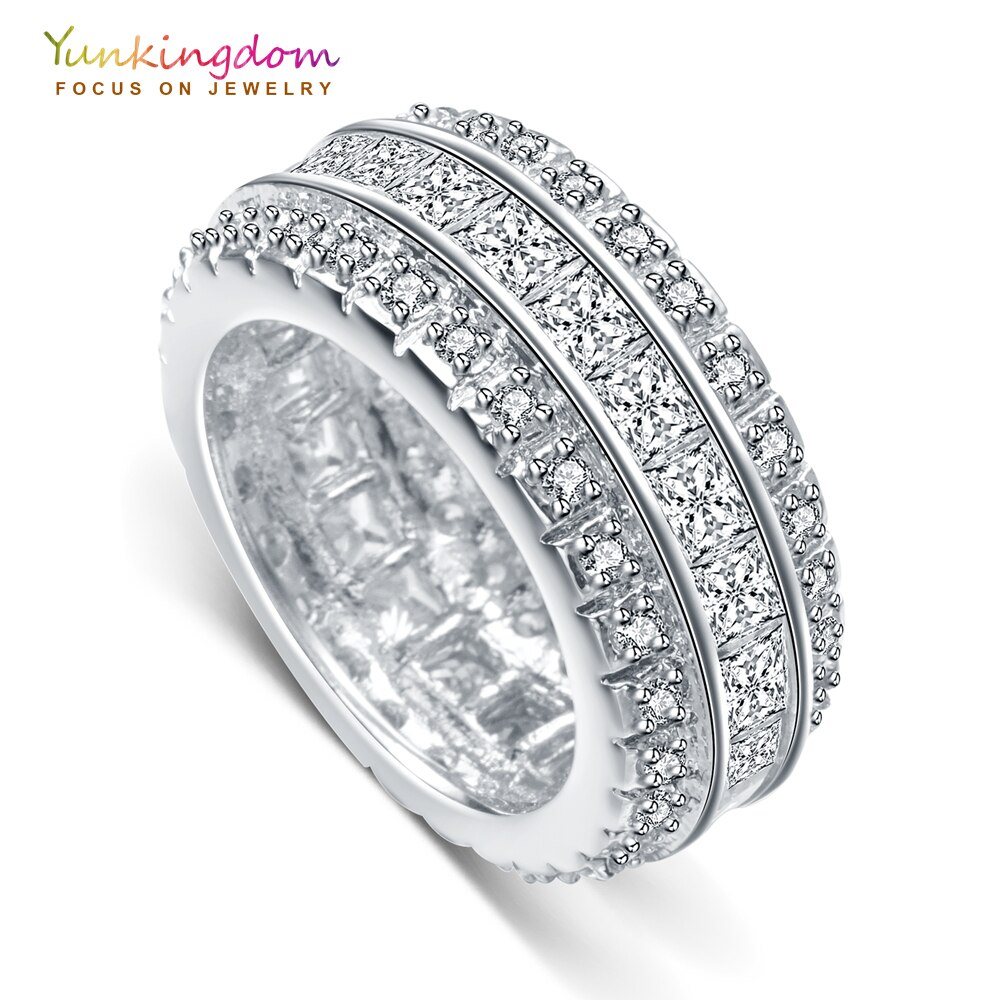 Yunkingdom geometric gorgeous womens rings cristal CZ blanco anillos grandes para mujeres joyería de moda de lujo