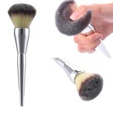 Très grande beauté poudre brosse pinceaux de maquillage Blush fond de teint rond maquillage grands cosmétiques aluminium pinceaux doux visage maquillage