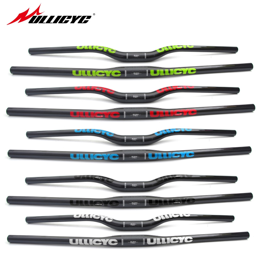 colorful Full Carbon Fiber MTB/Mountain Bicycle Straight Flat/Bend Riser Handlebar Carbon Bike Part 31.8*600-740 Glossy  CB482
