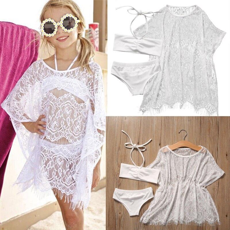 Cute Girl Beachwear Infant Girl Children Summer 3PCS Clothing 1-6Y Tops Baby Girls Tankini Swimsuit Bikini Swimming Oufits
