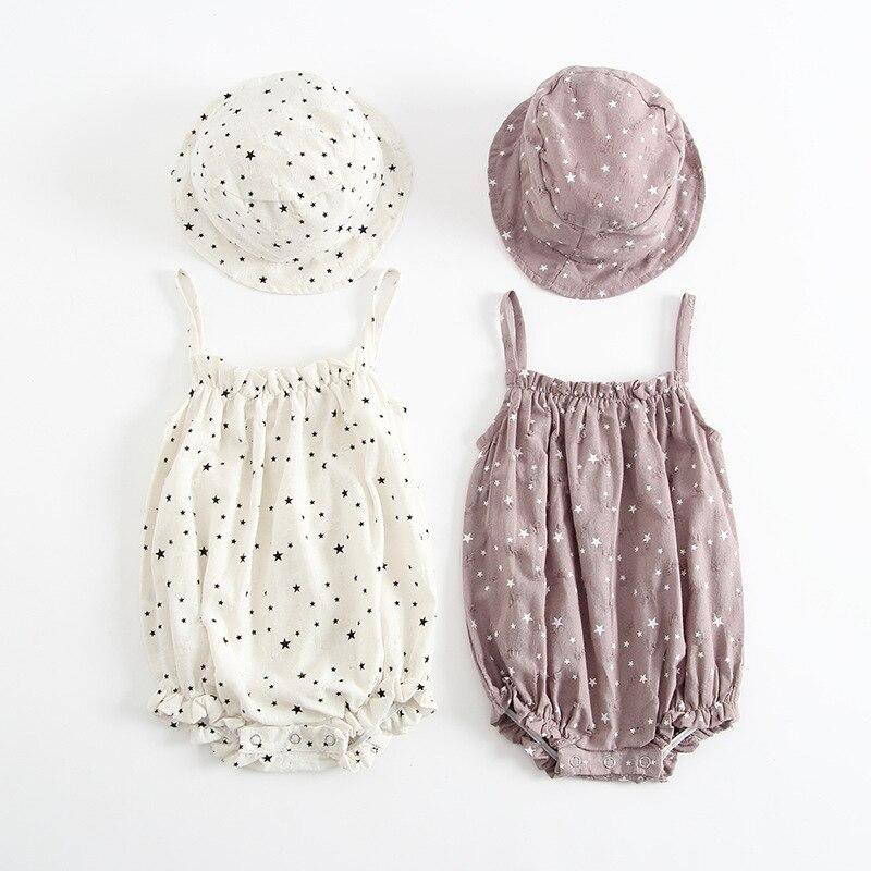 Bebê recém-nascido macacão suspensórios padrão estrela verão bebê meninas roupas macacão + boné