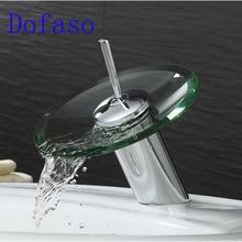 Dofaso robinet en verre de cascade   Salle de bains, robinet de lavabo en verre chromé robinet de lavabo, evier de bain, robinet mitigeur en verre monté sur le pont