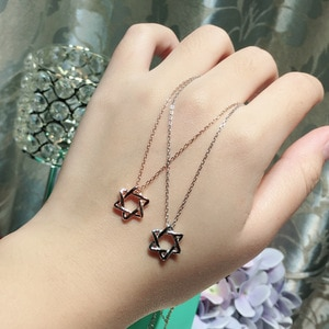 New Arrival High Quality Hexagon Star Shape Pendant Sweet Quality 925 Sterling Silver Fashion Simple Designer Women Necklace