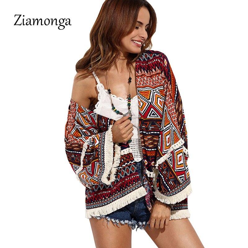 Ziamonga Kimono mujer suelta vintage, con impresiones geométricas chaqueta Kimono Boho Tops chaqueta blusa playa cubrir protector solar ropa de playa