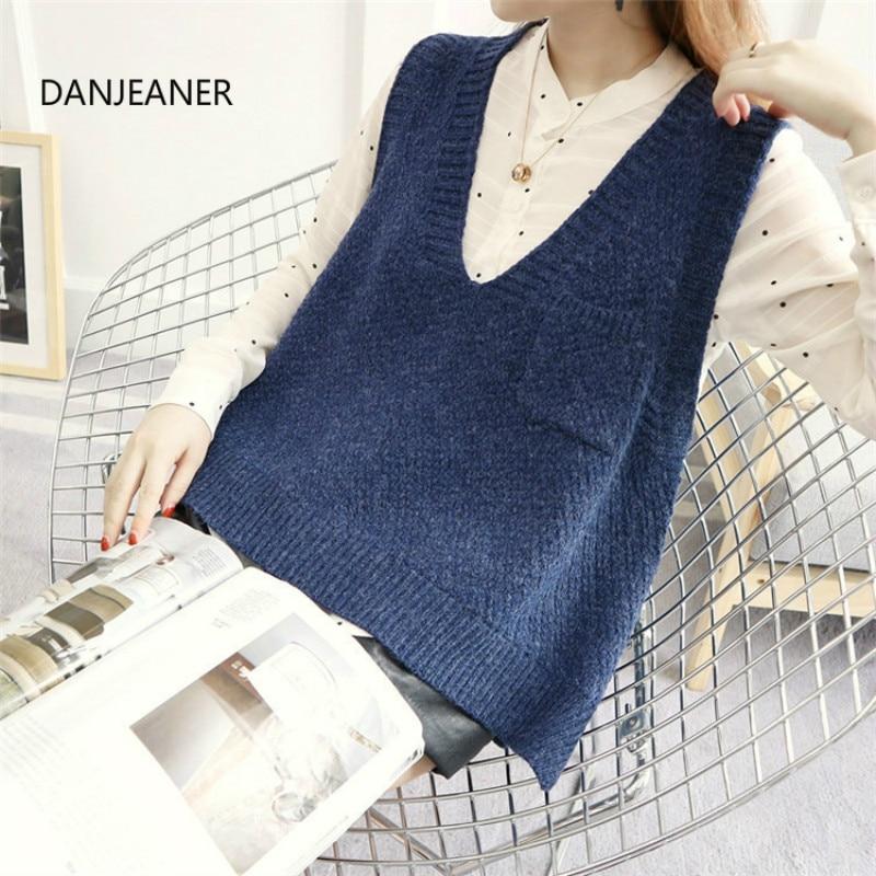 Danjeaner estilo coreano outono inverno sem mangas blusas curtas colete moda feminina de malha pulôver com bolsos v pescoço jumpers