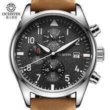 Relogio Masculino OCHSTIN montre hommes daffaires chronographe Date lumineuse montre-bracelet hommes de luxe marque en cuir montre à Quartz