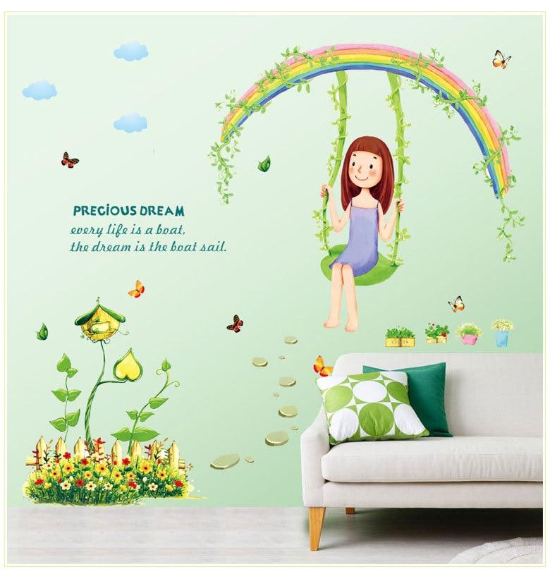 Swinging Girl mariposa arcoíris hierba pegatina de pared para niños habitación jardín decorativa y adorable de la etiqueta engomada del PVC eliminar Mural