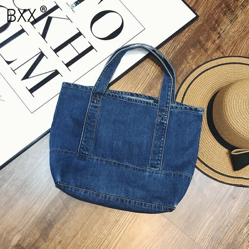 [BXX] 2020 New Pattern Fashion Large Capacity Single Shoulder Handbag Concise Casual Tote Denim Bag Women Bag DA290