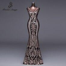 New Double-V Long Evening Dress vestido de festa Sexy Backless Luxury Gold Sequin formal party dress prom gowns vestido de mujer