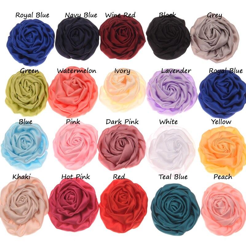12 pcs Chiffon dobrado Flor Botão de Rosa Flor Acessórios de Cabelo Da Moda Headwear Chique Sem Prendedor de Cabelo para o Cabelo banda
