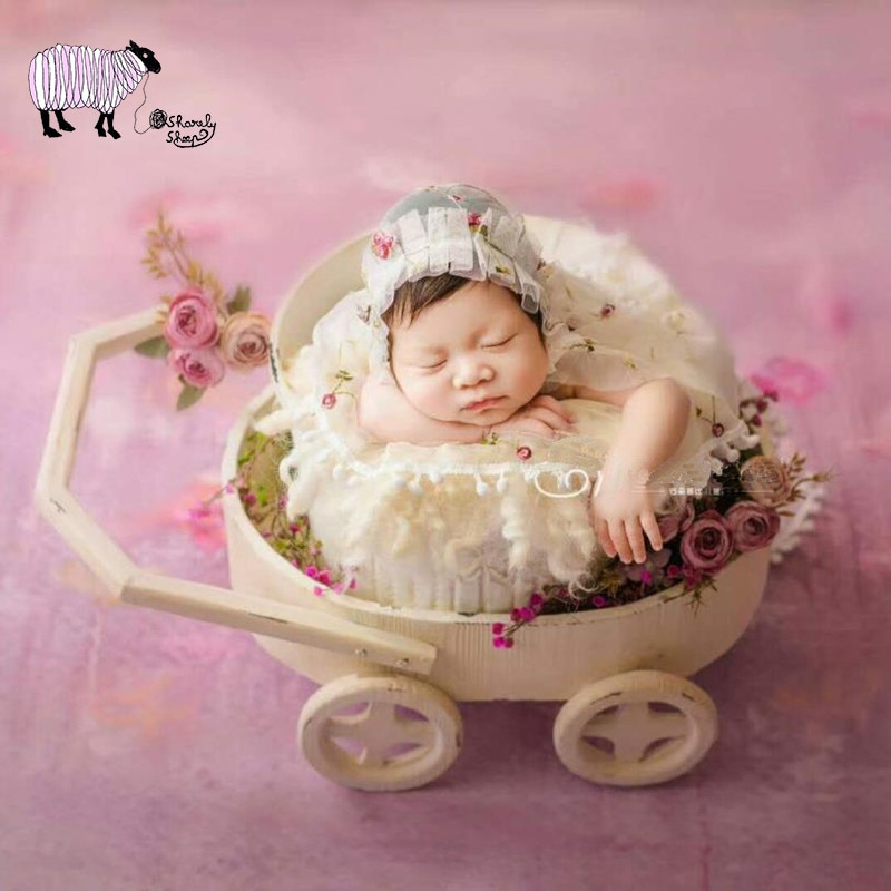 Newborn Photography Props Wooden Car for Baby Photo Shoot Studio Posing Trolley Car Basket Infant bebe fotografia Accessories