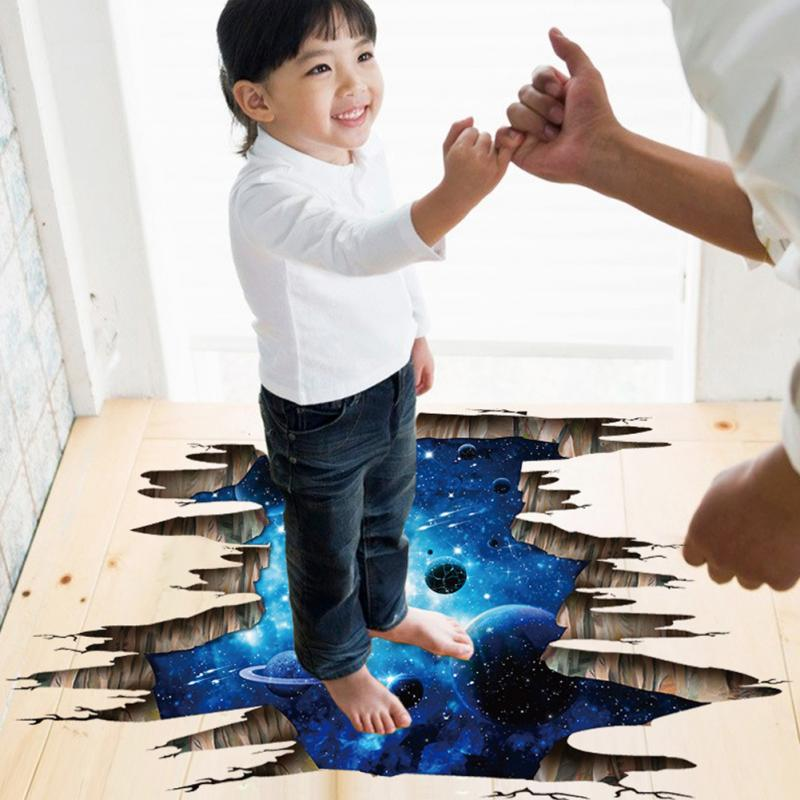 Pegatinas de pared 3D de planetas del espacio exterior, calcomanías de pared cósmicas para habitación de niños, decoración del techo del dormitorio del bebé