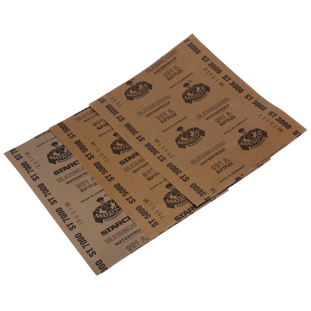 Papel de lija mojado y seco con 3 hojas de Grit 3000 5000 7000, papel abrasivo resistente al agua, carburo de silicio 991A HT590