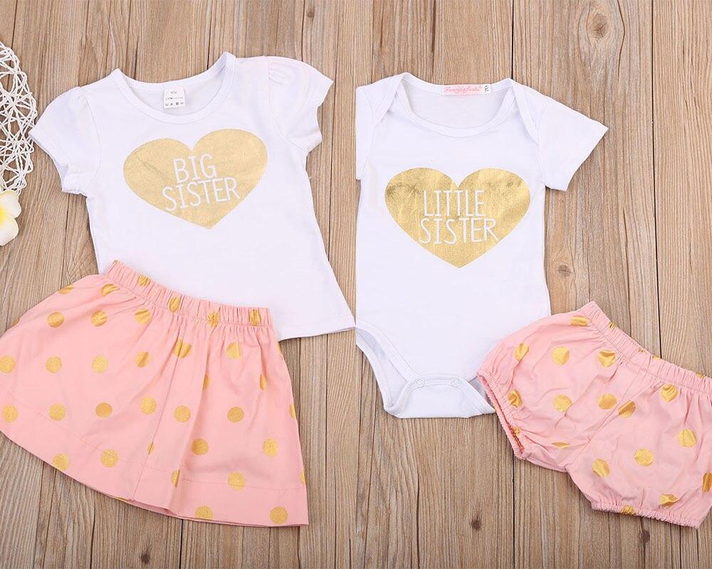 Комплект одежды для новорожденных девочек, летний костюм, футболка с надписью «Big Sister», шорты и юбки, боди для девочек, 2 шт.